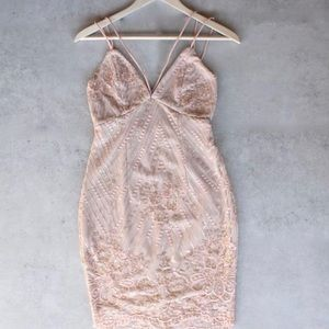 Embellished rose gold dress